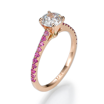 Engagement ring, pink Sapphires in Rose Gold