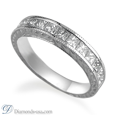 1.00 carats Antique style Wedding or Anniversary Princess ring
