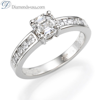 1.93 Carats, Asscher, Engagement ring with side stones settings