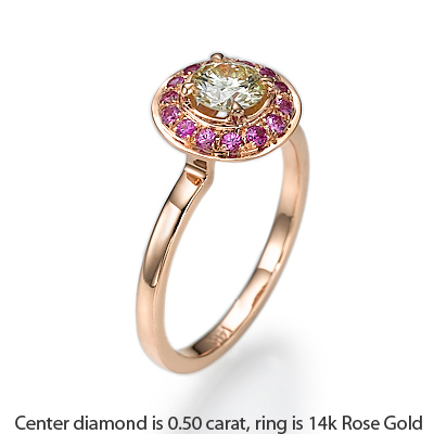 Rose Gold With Pink Sapphires Halo engagement ring
