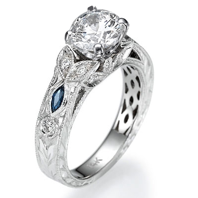 0.29 Carats, Round, Antique style hand engraved engagement ring