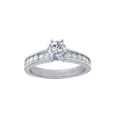 0.63 Carats, Pear, Engagement ring with side stones settings