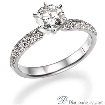 0.29 Carats, Round, Engagement ring with side stones settings