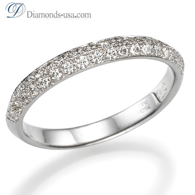 3mm Knife Edge wedding band with Pave set with 0.34 carats round diamonds