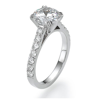Engagement ring with 1/2 Carat side diamonds