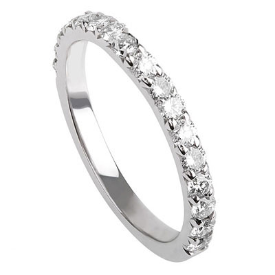 Open Pave wedding ring, 3/4 way pave set