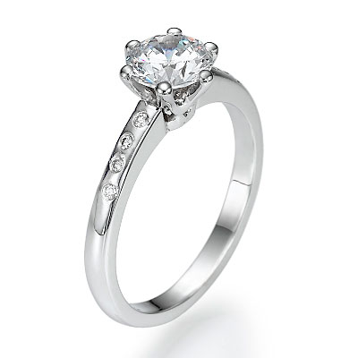 0.77 Carats, Round, Engagement ring with side stones settings