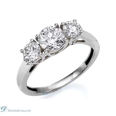 0.59 Carats, Round, Three diamonds Ring