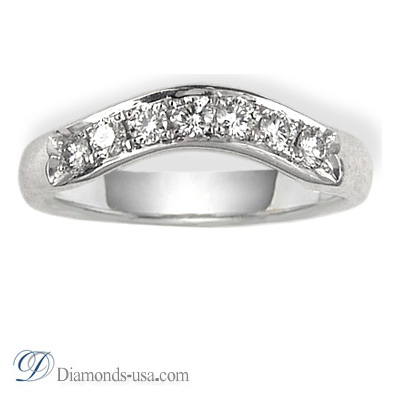 Curved Wedding band set with 7 diamonds 0.29Cts