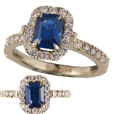 1 carat Blue Sapphire Emerald with 1/3 Ct diamonds