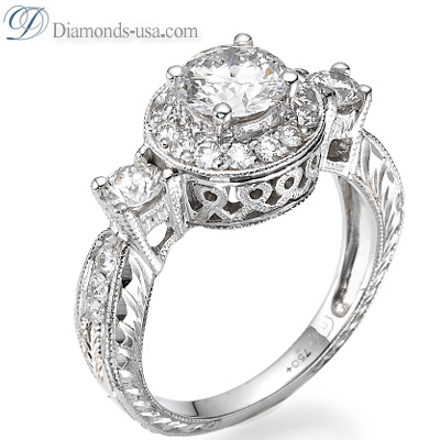 1.02 Carats, Round, Antique style hand engraved engagement ring