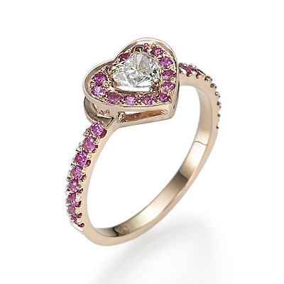 Heart diamond and Pink Sapphires ring