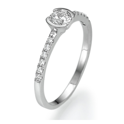 Petit half bezel engagement ring