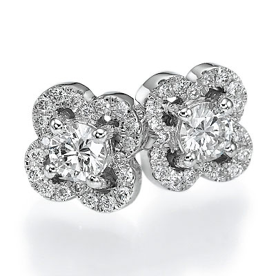 2.1 Carats, Round, Finished,Round diamonds earring studs.