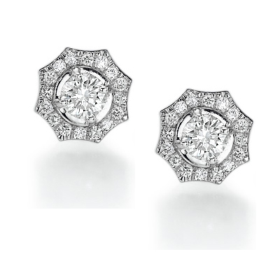 2.04 Carats, Round, Finished,Round diamonds earring studs.