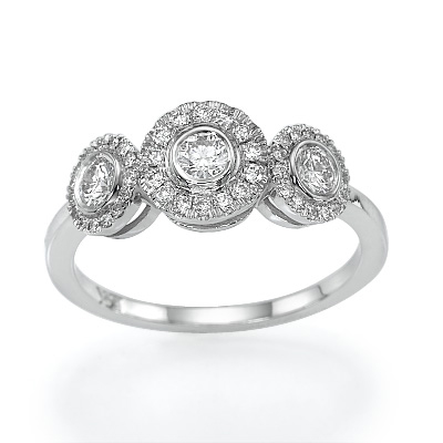 Crisscross three diamond ring, 0.45 carats
