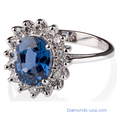 Princess Diana replica ring, 1.90 carats Royal Blue Oval
