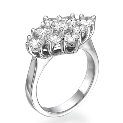 1.55 carats cluster ring