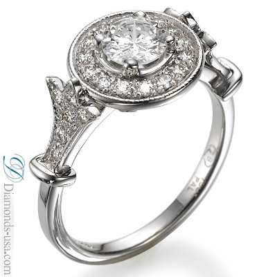 0.59 Carats, Round, Antique style hand engraved engagement ring-Finish