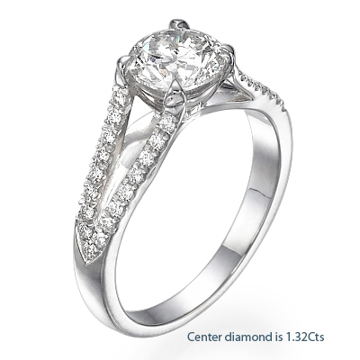 Designers Double V round diamonds engagement ring