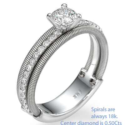 Contemporary spirals engagement ring