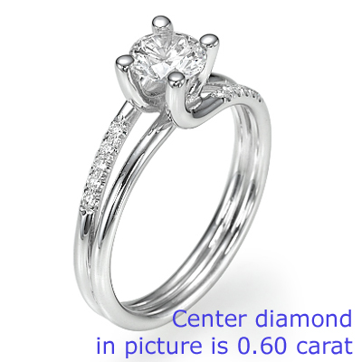 2.35 Carats, Asscher, Engagement ring with side stones settings