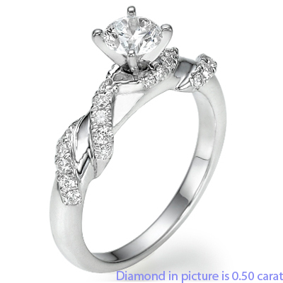 0.45 Carats, Round, Engagement ring with side stones settings