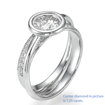 Anniversary or Engagement ring with 0.45Cts side round diamonds