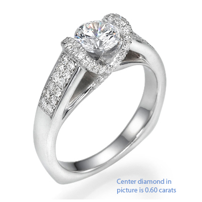 1 Carats, Cushion, Engagement ring with side stones settings