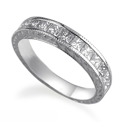 1.25Cts Hand engraved Princess diamonds wedding band.