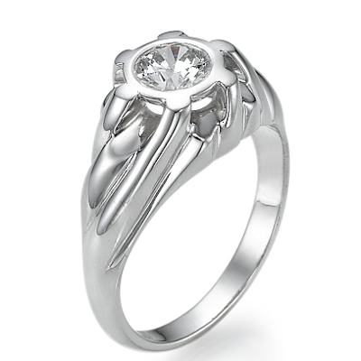 0.45 Carats, Round, Men diamond ring