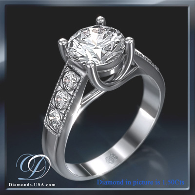 2 Carats, Round, Engagement ring with side stones settings