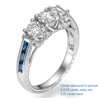 Three diamonds Antique style ring