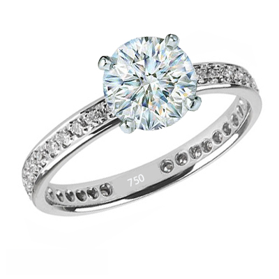 Eternity Engagement ring, 1/3 carat side diamonds