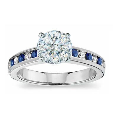 Engagement ring with side Diamond & Sapphire stones