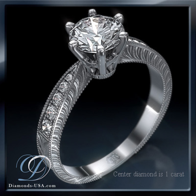 0.64 Carats, Round, Antique style hand engraved engagement ring