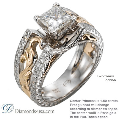 0.16 Carats, Round, Antique style hand engraved engagement ring