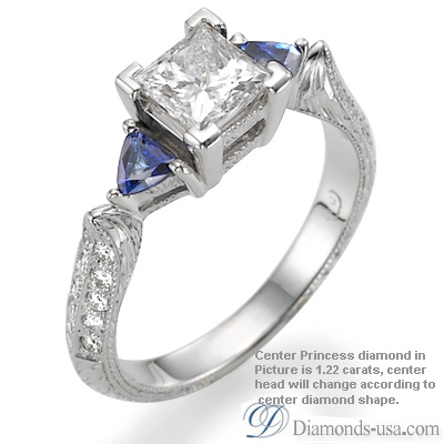 0.59 Carats, Princess, Antique style hand engraved engagement ring
