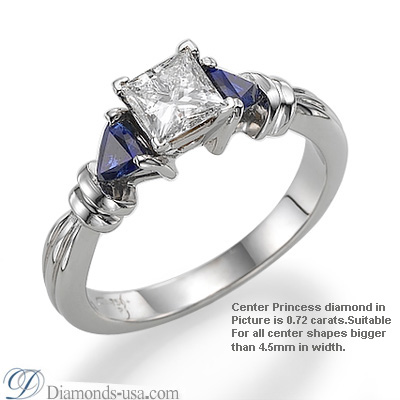 Two blue Sapphires side triangles engagement ring