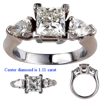 1.08 Carats, Princess, Engagement ring with side stones settings