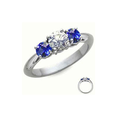 0.9 Carats, Round, Engagement ring with side stones settings, finished