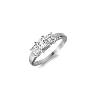 0.94 Carats, Princess, Three diamonds Ring