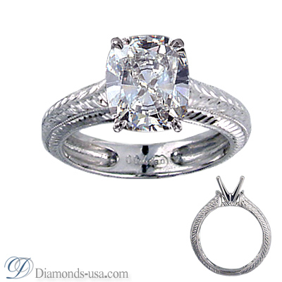 0.3 Carats, Round, Antique style hand engraved engagement ring