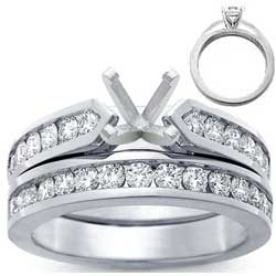 2.61 Carats, Radiant, Engagement and Wedding Diamond Rings Set