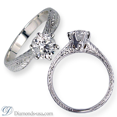 0.9 Carats, Round, Antique style hand engraved engagement ring