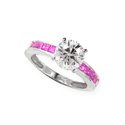 0.28 Carats, Round, Engagement ring with side stones settings