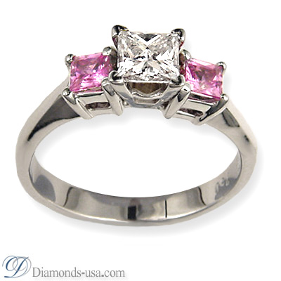 0.3 Carats, Round, Engagement ring with side stones settings