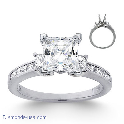 0.80 carats side princess diamonds engagement ring