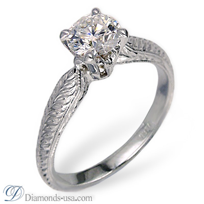 1.01 Carats, Cushion, Antique style hand engraved engagement ring