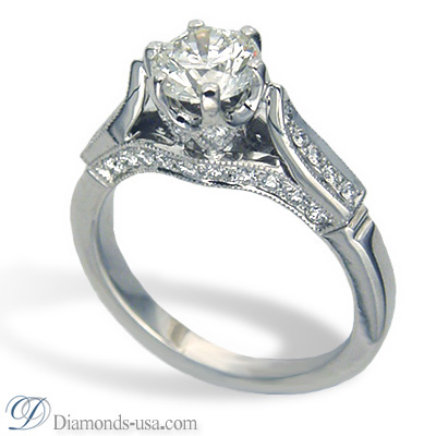 0.58 Carats, Round, Antique style hand engraved engagement ring